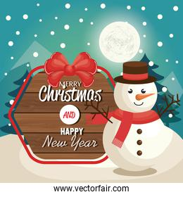 snowman, merry christmas and new year label