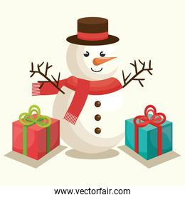 cute snowman with gift boxes, merry christmas