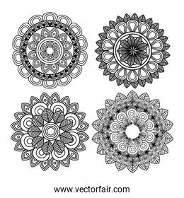 set mandala art decorative icon