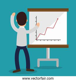 business people with paperboard training icon