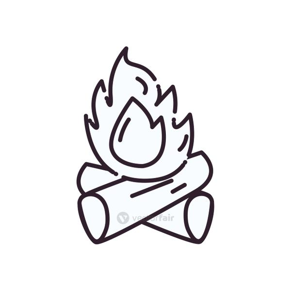 Isolated campfire line style icon vector design