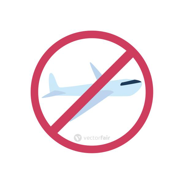 banned flights sign icon, flat style