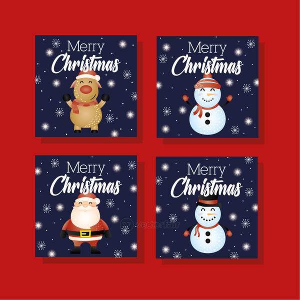 happy merry christmas card with set characters
