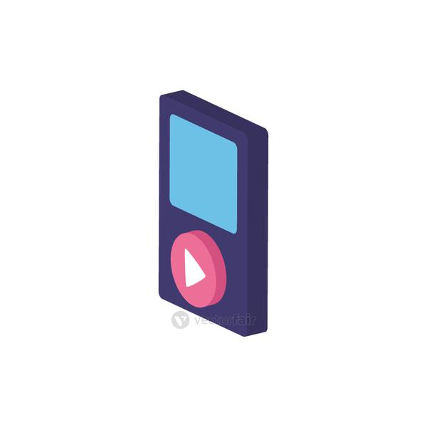 Isolated and isometric music player vector design