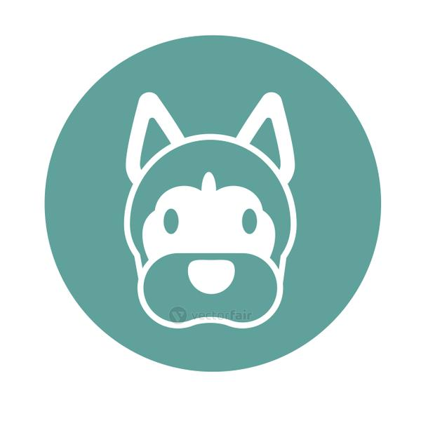 head of cute dog, block and flat style icon