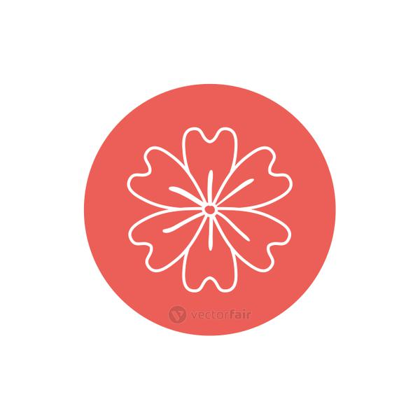 Flower inside red circle line block style icon set vector design