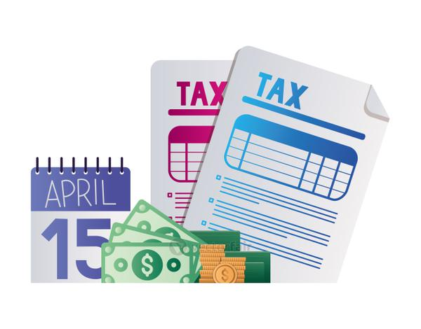 tax day calendar documents bills and coins vector design