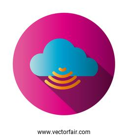 Isolated cloud computing and wifi block gradient style icon vector design