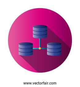 Isolated web hosting block gradient style icon vector design