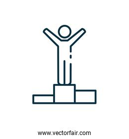 Isolated avatar on podium line style icon vector design