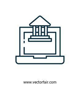 Isolated school building and laptop line style icon vector design