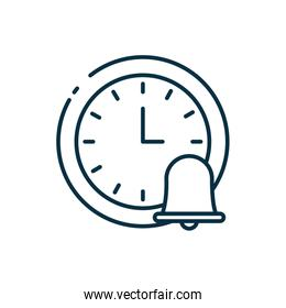 Isolated clock instrument and bell line style icon vector design