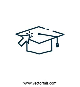 Isolated graduation cap and arrow line style icon vector design