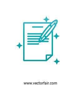 Isolated data document and feather gradient style icon vector design