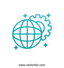 Isolated global sphere and gear gradient style icon vector design