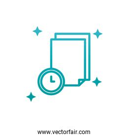Isolated data document and clock gradient style icon vector design