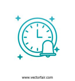 Isolated clock instrument and bell gradient style icon vector design