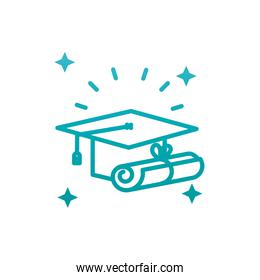Isolated graduation cap and diplom gradient style icon vector design