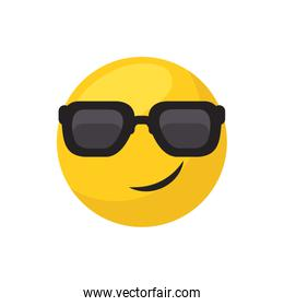 Cool emoji face flat style icon vector design