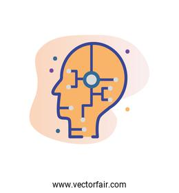 Head with circuit line fill block style icon vector design