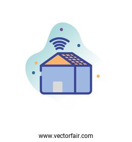 house and wifi line fill block style icon vector design