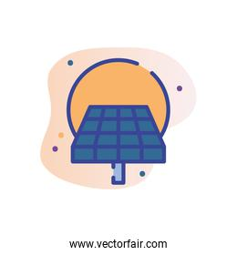 Isolated solar panel line fill block style icon vector design
