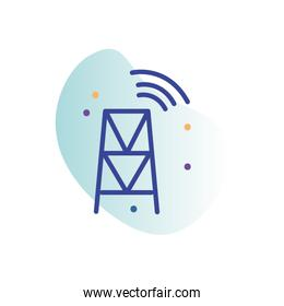 Isolated antenna line fill block style icon vector design