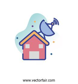 Isolated antenna over house line fill block style icon vector design