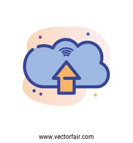 Isolated cloud computing with arrow line fill block style icon vector design
