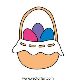 eggs easter in basket wicker