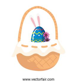 cute egg easter with ears rabbit and flowers in basket wicker