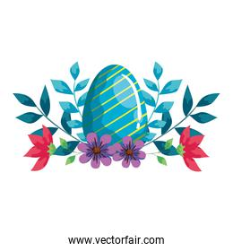 cute egg easter with flowers and leafs decoration
