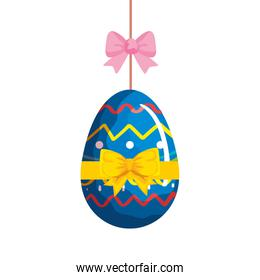 cute egg easter decorated hanging with pink  bow ribbon