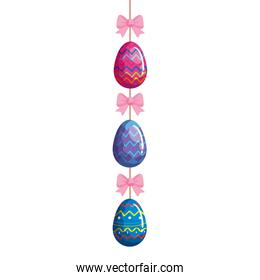 cute eggs easter decorated hanging with bow ribbon