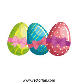 cute eggs easter decorated waves lines and bow ribbon