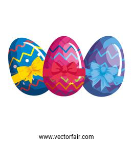 cute eggs easter decorated with geometric lines and bow ribbon