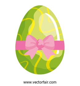 cute egg easter decorated waves lines and bow ribbon