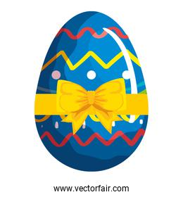 cute egg easter decorated with geometric lines and bow ribbon