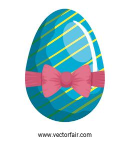 cute egg easter decorated with stripes and bow ribbon