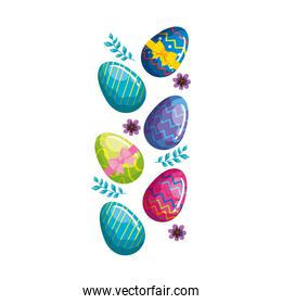 cute eggs easter decorated with flowers and leafs
