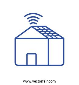 house and wifi line style icon vector design