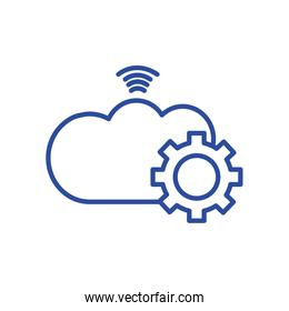 Isolated cloud computing with gear line style icon vector design