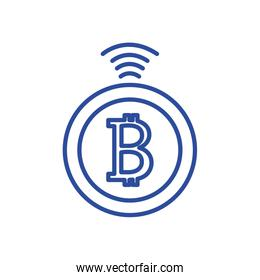 Isolated bitcoin line style icon vector design
