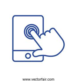 hand touching smartphone line style icon vector design