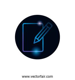 Isolated data document and pencil gradient style icon vector design