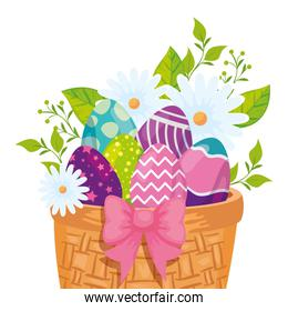 eggs easter in basket wicker and flowers