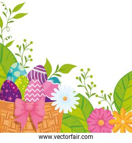 eggs easter in basket wicker and flowers decoration