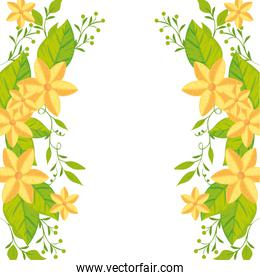 frame of cute flowers with leafs icon