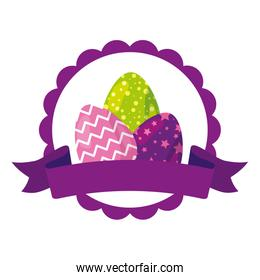 seal lace with cute eggs easter decorated and ribbon