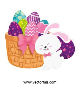 rabbit and cute eggs easter decorated with basket wicker